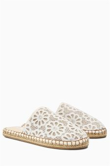 Cream Lace Espadrille Mule Slippers