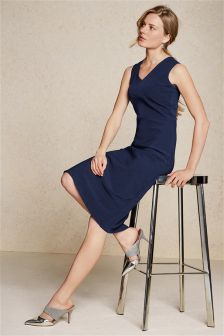 Navy Topstitch Dress
