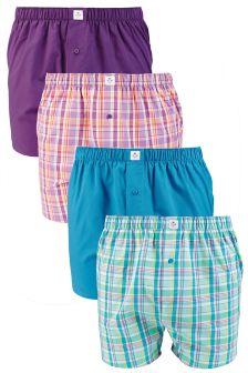 Purple/Blue Bright Check Woven Boxers Four Pack