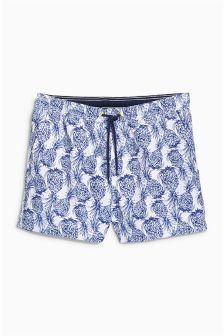Blue Pineapple Print Swim Shorts