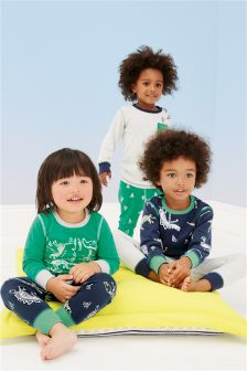 Navy Dino Image Pyjamas Three Pack (9mths-8yrs)