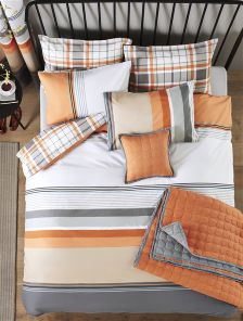 2 Pack Orange Check And Stripe Bed Set