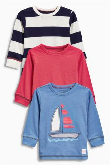 Blue Boat Long Sleeve Tops Three Pack (3mths-6yrs)