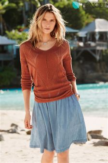 Light Blue Tencel® Rich Denim Skirt