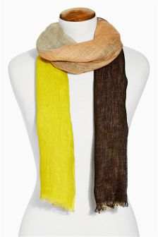 Ecru Linen Mix Colourblock Scarf