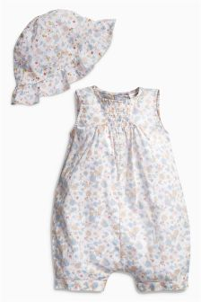 White Floral Romper And Hat (0mths-2yrs)