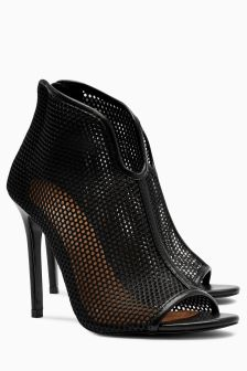 Black Mesh Peep Toe Shoe Boots