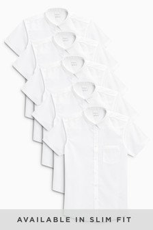 White Short Sleeve Shirts Five Pack (3-16yrs)