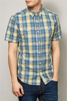 Yellow/Blue Short Sleeve Check Shirt
