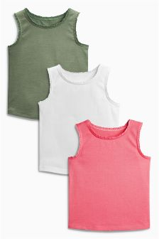 Pink Plain Vests Three Pack (3mths-6yrs)
