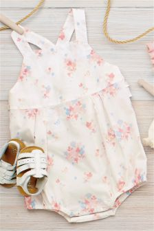 White Floral Dungarees (0mths-2yrs)