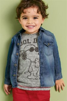 Denim Long Sleeve Shadow Patch Shirt (3mths-6yrs)