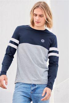 Grey/Navy Long Sleeve T-Shirt