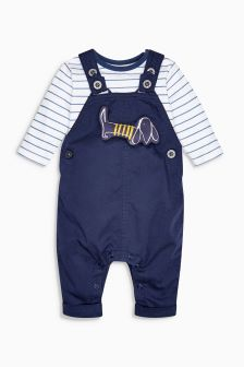 Navy Dog Twill Dungarees And Bodysuit Set (0mths-2yrs)