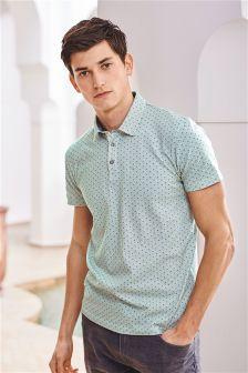 Green Geometric Print Poloshirt