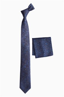 Blue Floral Tie And Pocket Square