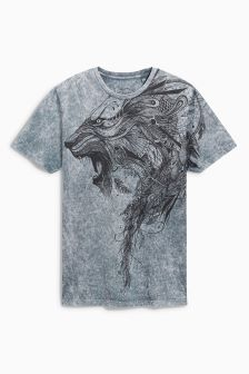 Grey Acid Wash Lion T-Shirt