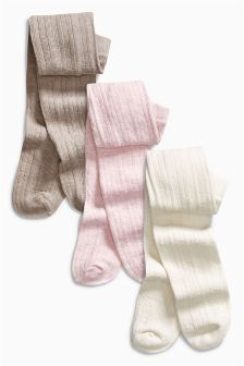 Pink/Mink/Ecru Cable Tights Three Pack (0mths-2yrs)