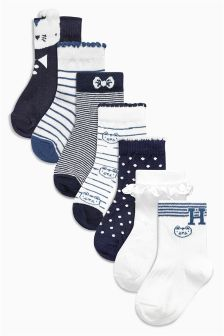 Navy Cat Socks Seven Pack (Younger Girls)