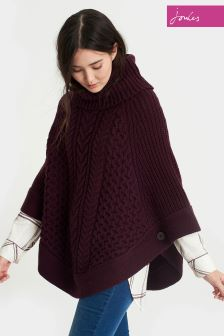 Joules Burgundy Capability Cable And Stitch Poncho