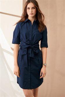 Navy Cotton Poplin Tie Waist Dress