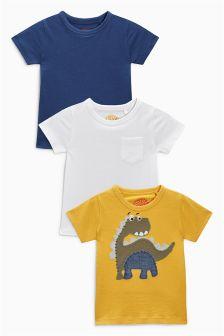 Yellow Dinosaur T-Shirts Three Pack (3mths-6yrs)