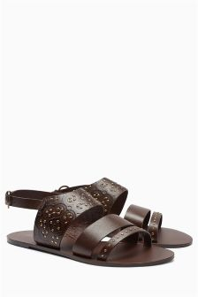Chocolate Studded Sandals