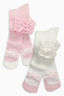 Pink/White Ruffle Tights Two Pack (0mths-2yrs)
