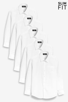 White Long Sleeve Shirts Five Pack (3-16yrs)