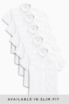 White Short Sleeve Shirts Five Pack (3-16yrs)