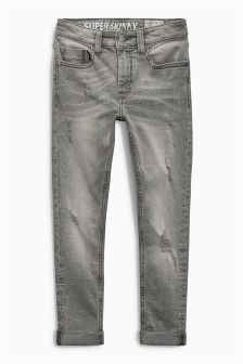 Grey Distressed Super Skinny Jeans (3-16yrs)