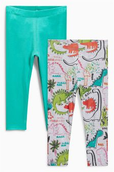 Green/Grey Dino Leggings Two Pack (3mths-6yrs)