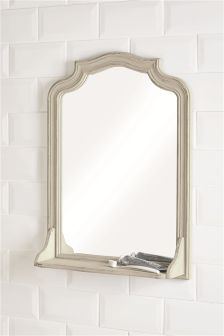 Distressed Wood Frame Mirror With Shelf