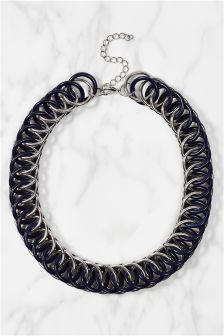 Silver Coloured Enamel Metal Chain Necklace