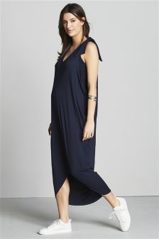 Navy Maternity Tie Shoulder Maxi Dress