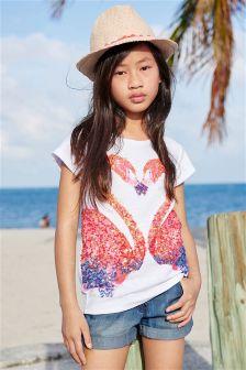 White Flamingo Sequin T-Shirt (3-16yrs)