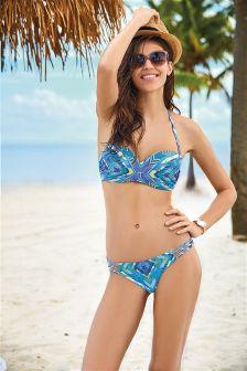 Blue Geo Print Embellished Bandeau Bikini Top