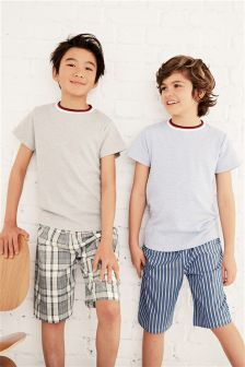 Blue/Grey Woven Short Pyjamas Two Pack (3-16yrs)
