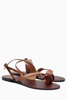 Tan Tooled Leather Toe Loop Sandals