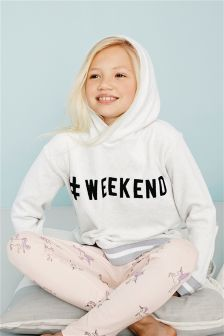 Pink/Grey Slogan Hoody And Leggings Lounge Set (3-16yrs)