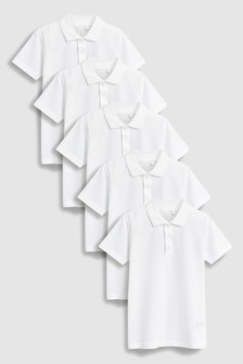 White Poloshirts Five Pack (3-16yrs)