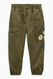 Khaki Utility Embroidered Trousers (3-16yrs)