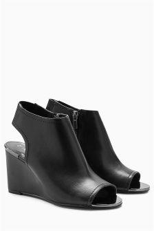 Peep Toe Wedge Shoe Boots