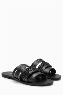 Black Tooled Leather Sandals
