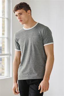 Grey Fabric Interest T-Shirt