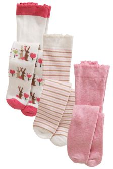 Pink Bunny Tights Three Pack (0mths-2yrs)