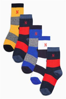 Multi Rugby Stripe Textured Socks Five Pack (Older Boys)
