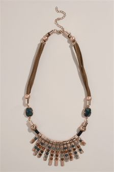 Gold Tone Green Stone Detail Necklace