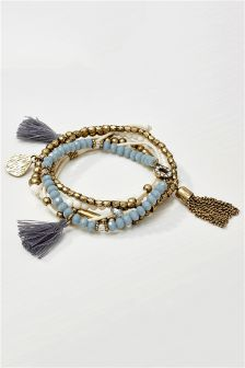 Gold Tone Tassel Expander Bracelet Pack
