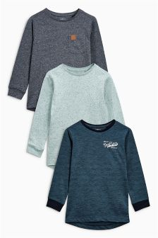 Blue Long Sleeve T-Shirts Three Pack (3-16yrs)